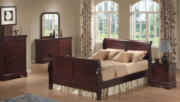 Cherry Wood Sleigh Bedroom Suit All American Furniture