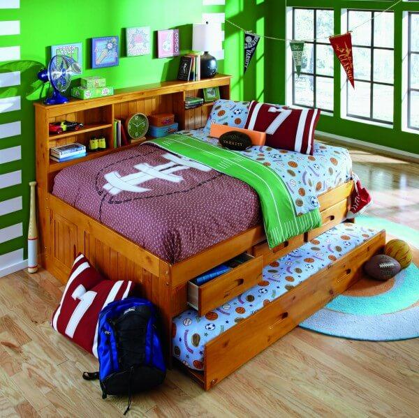 Full Honey Bookcase Captain's Bed