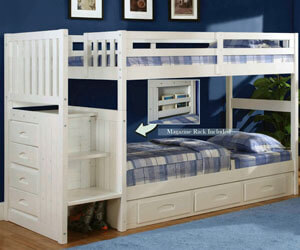 0214-T/T Twin Twin Staircase Bunk Bed