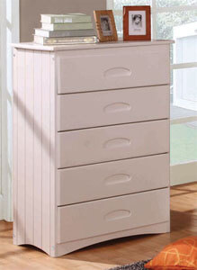 0255 Chest 5 Drawer White