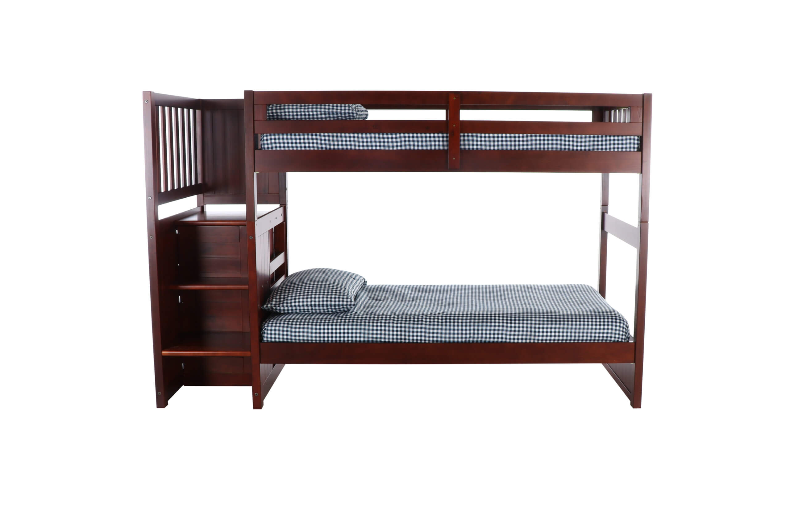 Picture of: Merlot Twin Twin Staircase Bunk Bed All American Furniture Buy 4 Less Open To Public