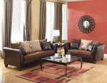 Brown & Mocha 2-Tone Sofa and Love Set Faux Leather & Microfiber 1