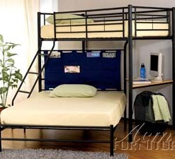 Black Twin/Full Metal Bunk Bed with Built in Desk and Storage 1