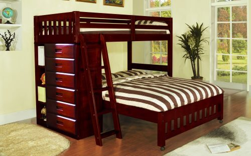 Twin Full Merlot Loft Bunk Bed All American Furniture 4 Less Open To Public