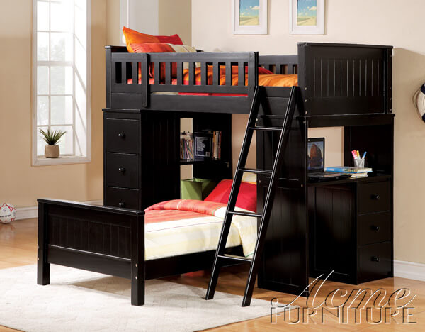 Willoughby black loft twin bunk bed all american - All in one double bed ...