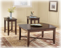 Medium Brown Wood Coffee Table and 2 End Tables 1