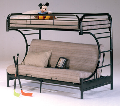 Metal Twin Futon Black Bunk Bed