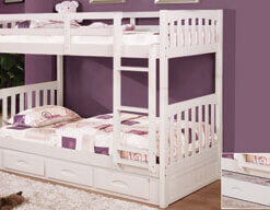0210 White Twin Bunk Bed