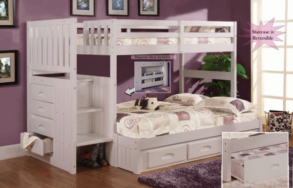 White Staircase Bunk Bed All American Furniture Lakeland
