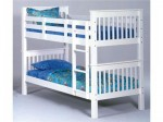 White Slat Wood Twin Twin Bunk Bed 1