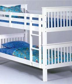 White Slat Wood Twin Twin Bunk Bed 1