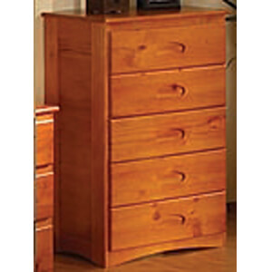 2155 Honey 5 Drawer Chest