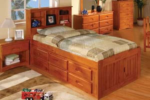 2120 Twin Honey Captain Bed with 6 Drawers
