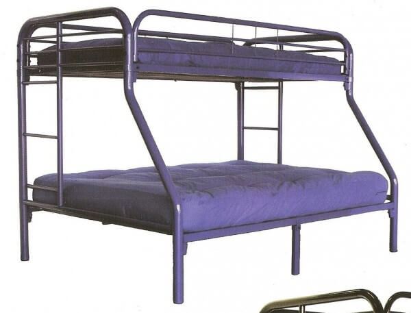 Metal Twin Over Full Bunk Bed Purple All American Furniture