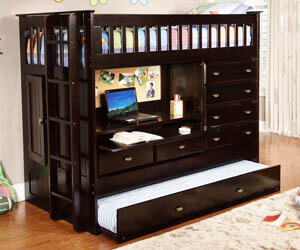 Espresso All In One Bunk Bed All American Furniture Buy 4 Less