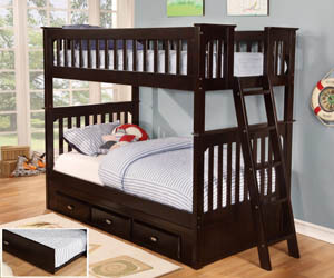 Espresso Twin Bunk Bed All American Furniture Buy 4