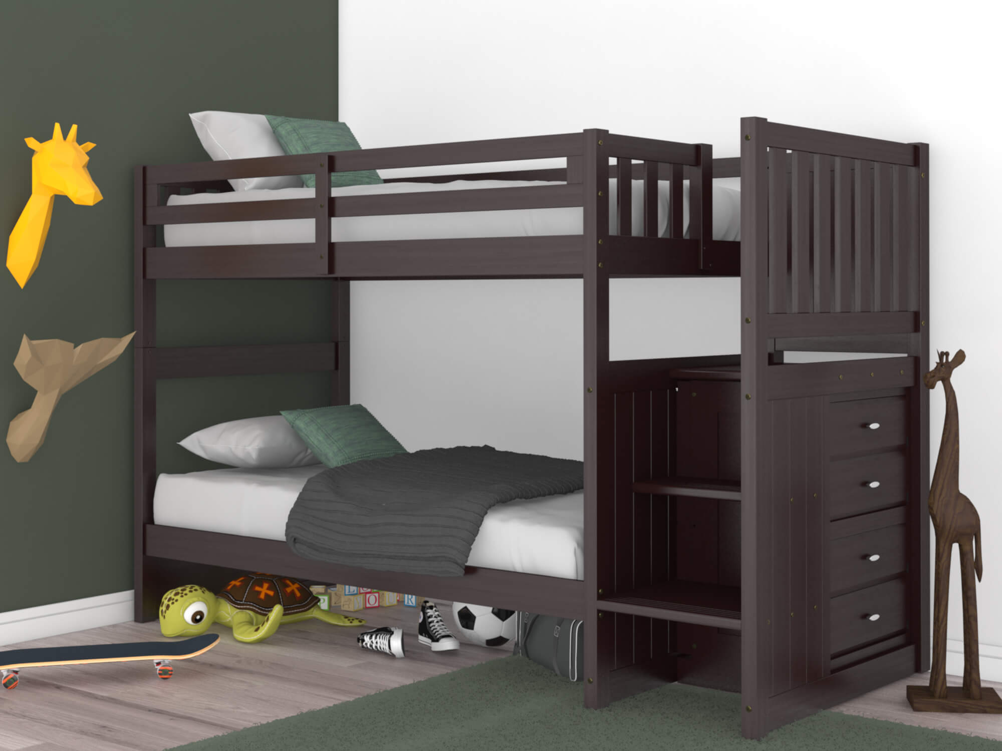 Espresso Twin Twin Staircase Bunk Bed All American Furniture Buy 4 Less Open To Public