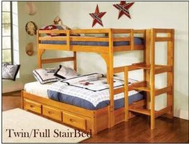 Twin Full Honey Staircase Bunk Bed