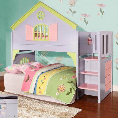 Doll House Staircase Loft Bed All American Furniture Buy 4 Less
