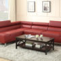Poundex Burgundy 2-Piece Sectional