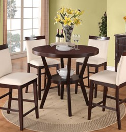 F2215-F1317 Poundex Espresso Counter Height Dining Set