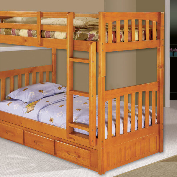 Honey Twin Bunk Bed All American Furniture Buy 4 Less Open To Public