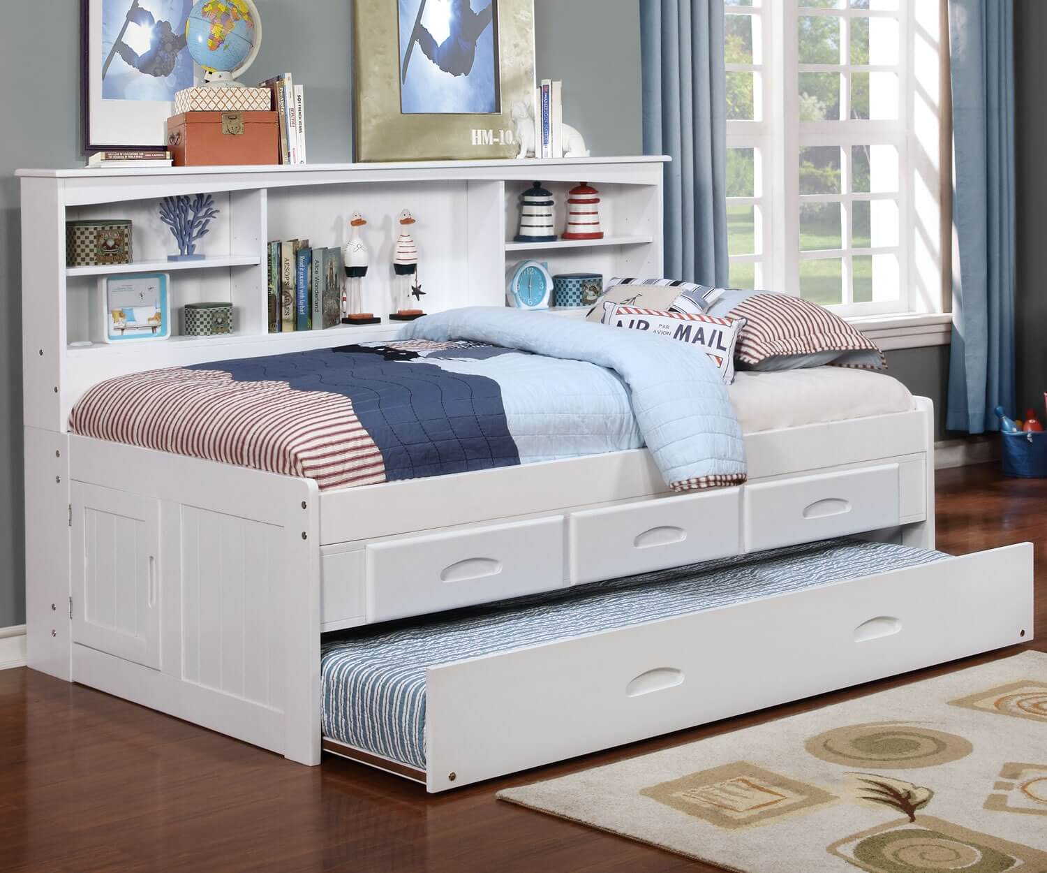 White twin bookcase daybed all american furniture buy Under bed book storage