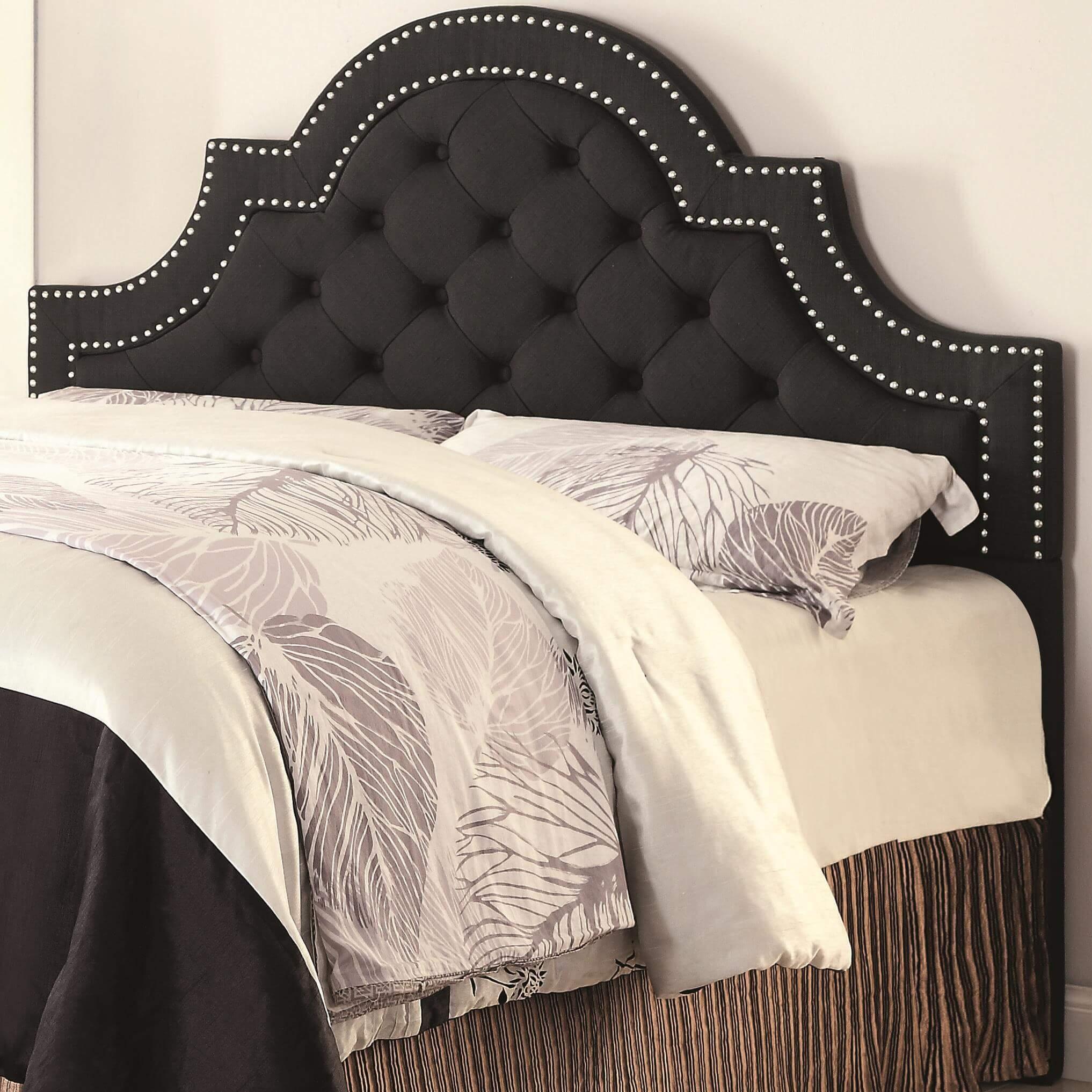 Black Upholstered Headboard Queen Or