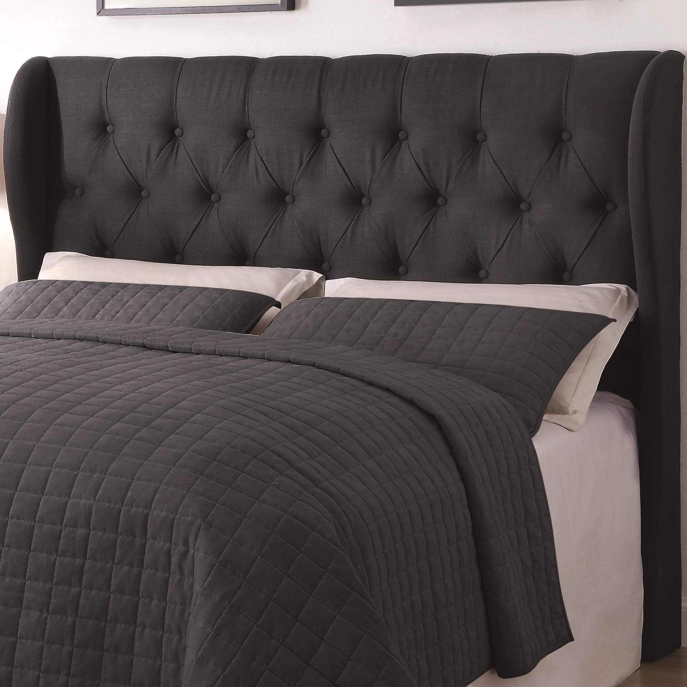 Black Button Tuft Headboard Queen Or Full All American