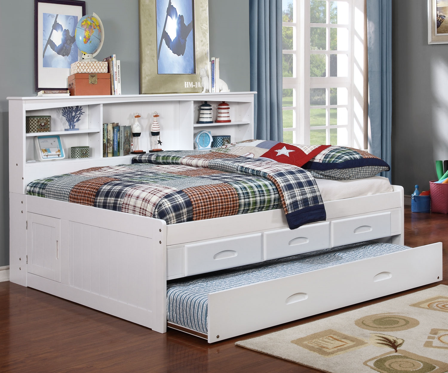 DWF0223-white Bookcase Daybed - White Full Bookcase Daybed - All American Furniture - Buy 4 Less
