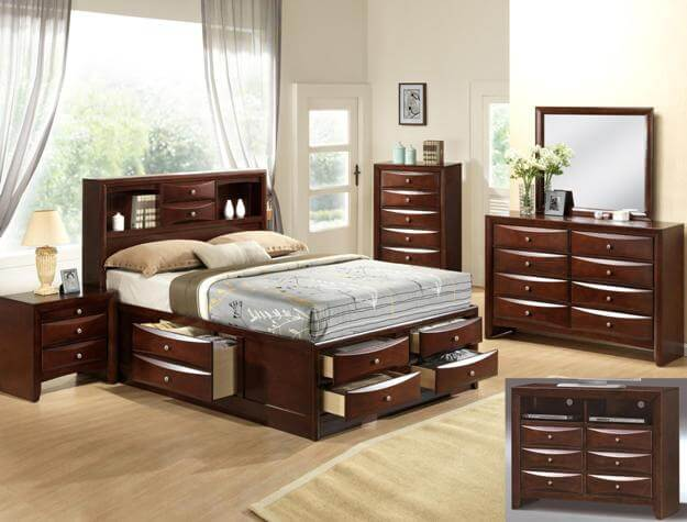 Emily cherry storage bedroom all american furniture buy 4 less open to public for Bedroom set with storage drawers