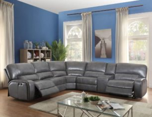 Saul Grey Leather Reclining Sectional