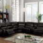 54150 Saul Black Leather Reclining Sofa