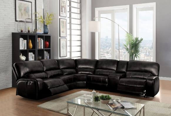 Saul Black Reclining Sectional All American Furniture
