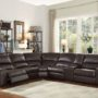 54155 Saul Brown Leather Reclining Sofa
