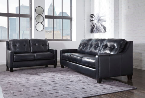 O Kean Navy Leather Living Room All American Furniture