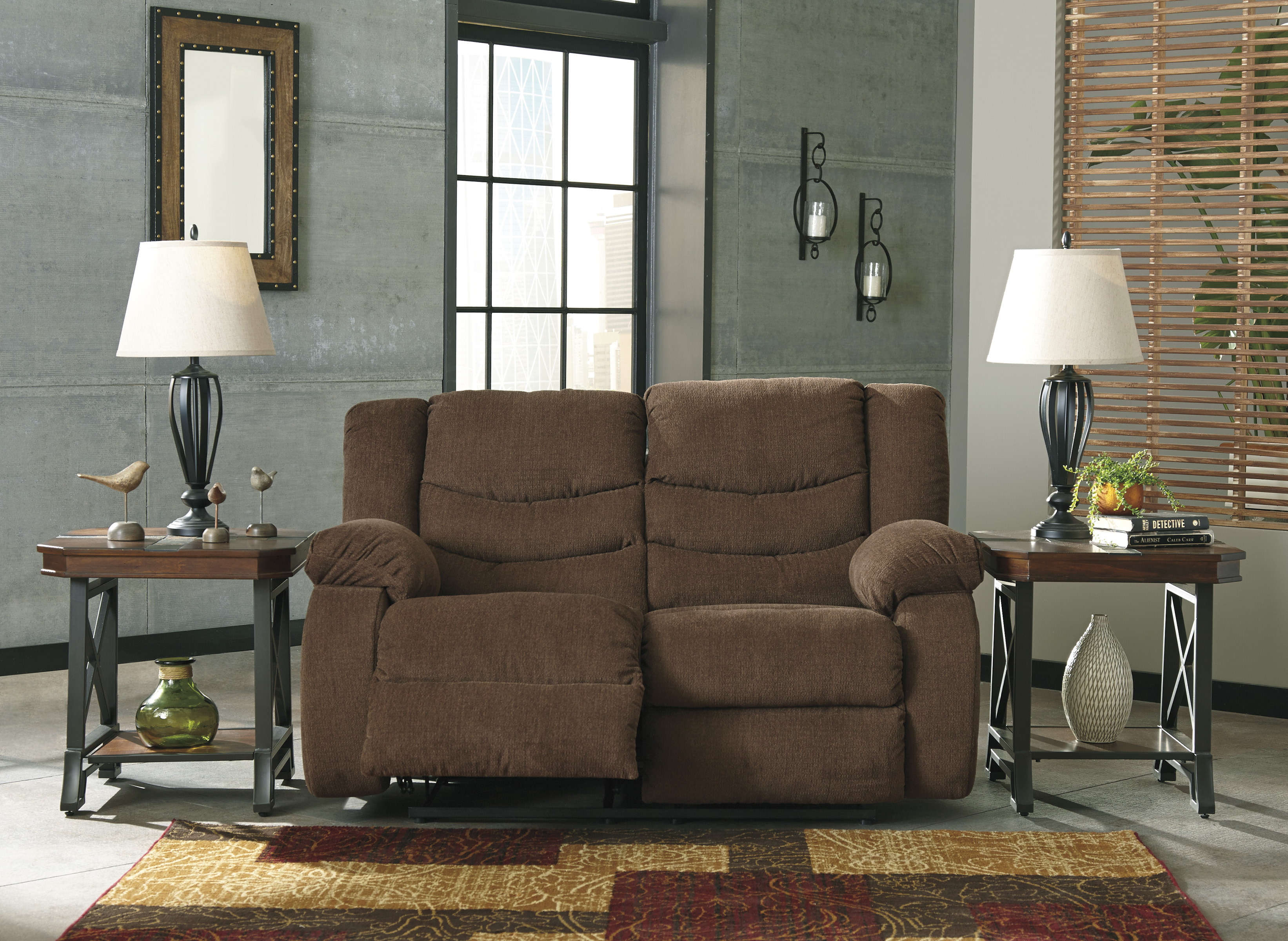 Tulen Chocolate Reclining Sofa Love All American Furniture Buy 4 Less Open To Public