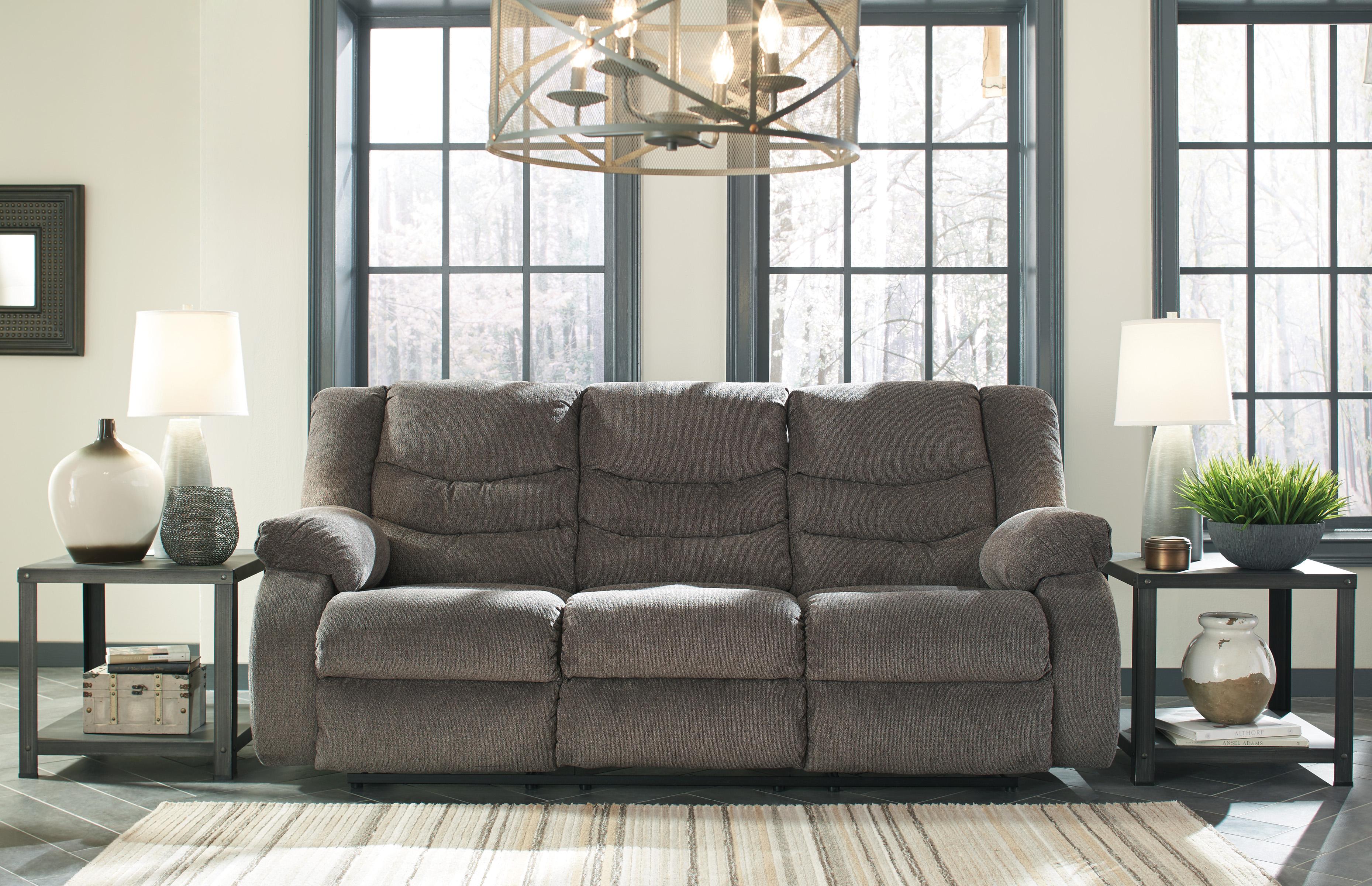 Tulen grey reclining sofa love all american furniture Living room furniture reclining sofa
