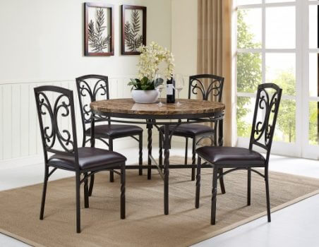 Tuscan Faux Marble Casual Dining Set   All American Furniture   Buy 4 Less    Open To Public