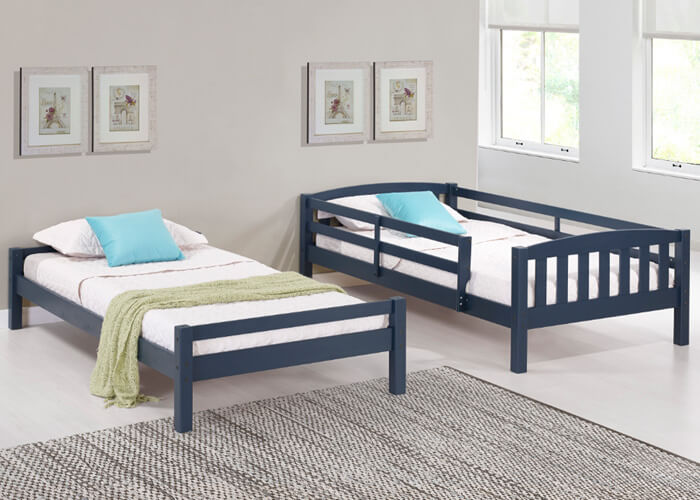 Navy Adaptable Bunk Bed Two Twin Beds 7 Different Set Ups
