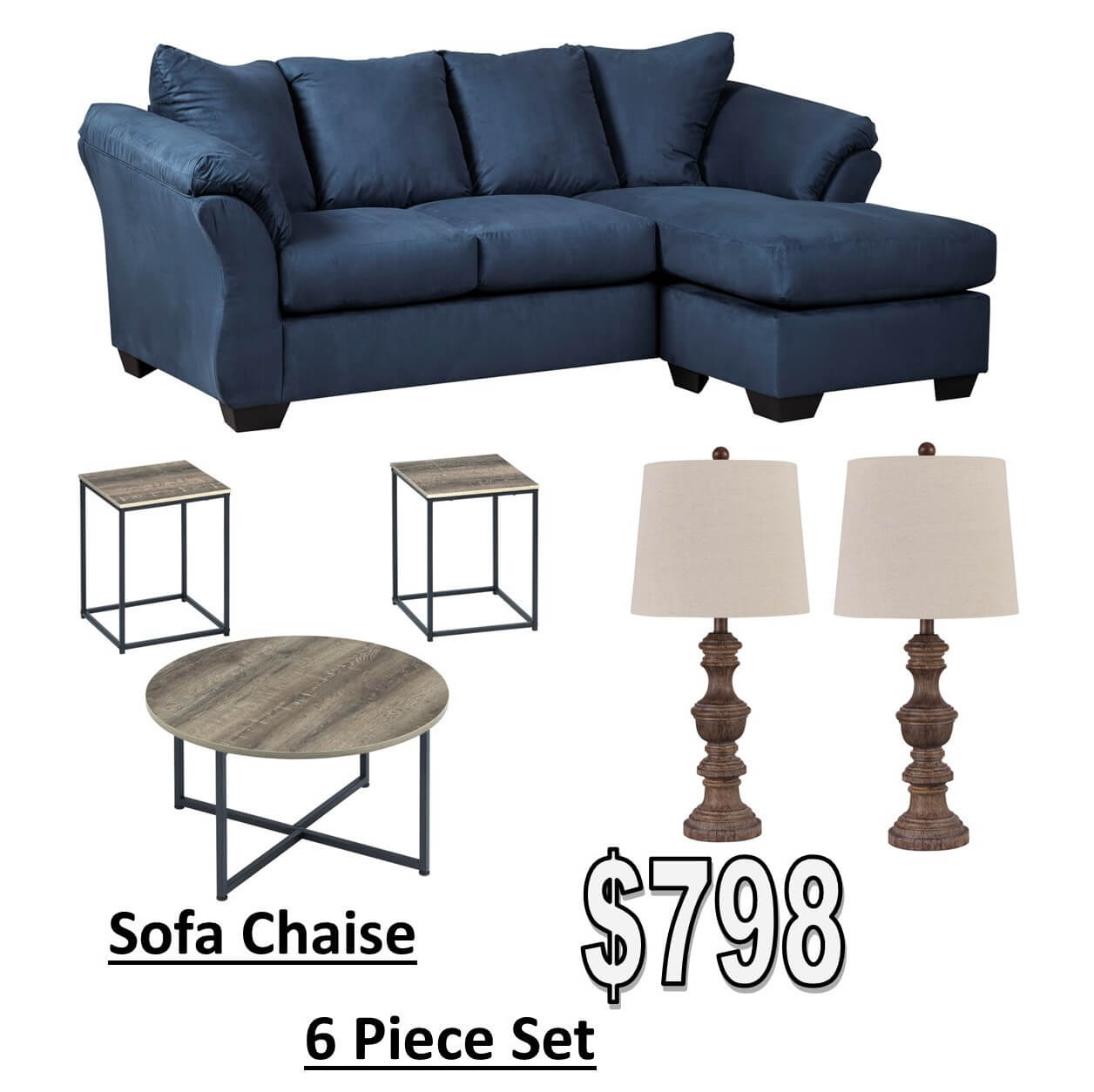 Darcy Blue Chaise All American Furniture Buy 4 Less