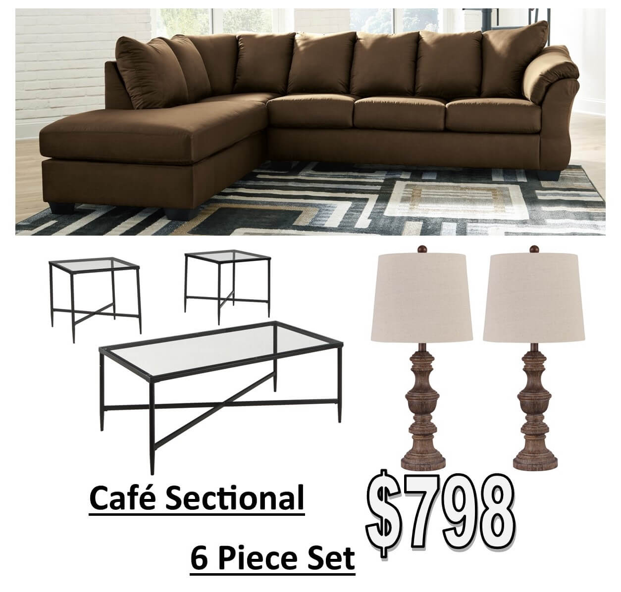 All American Furniture Deltona: Cafè Sectional Living Room Package